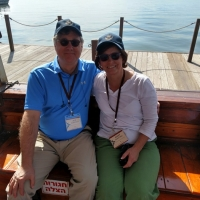 Joe and Mary ready to ride boat on Sea of Galilee